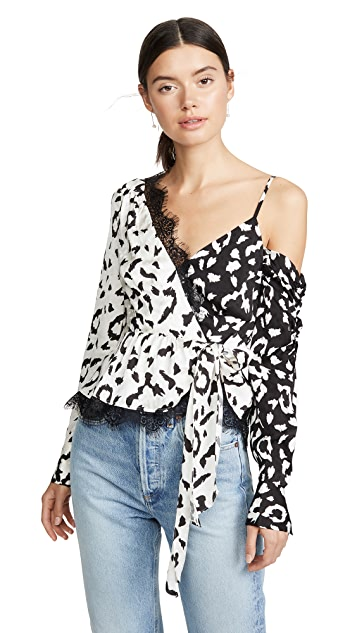 Self Portrait Leopard Printed Wrap Top