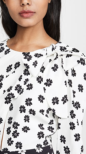 Self Portrait Crepe Daisy Printed Dress