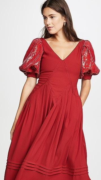 Self Portrait Красное миди-платье с короткими рукавами и блестками
