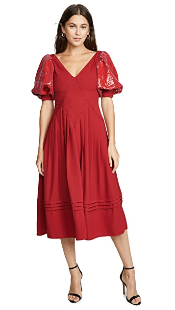 Self Portrait Red Sequin Short Sleeve Midi Dress