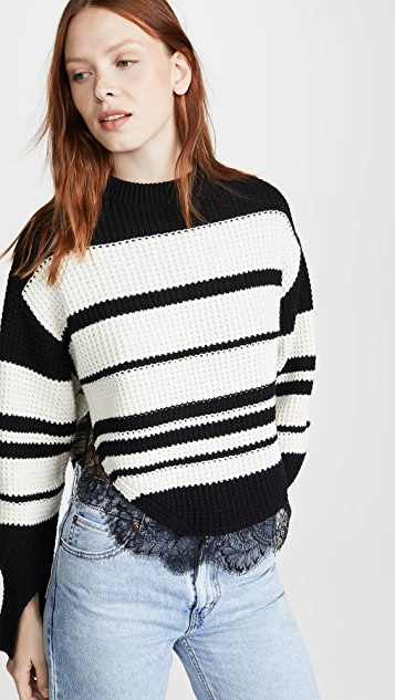 Self Portrait Monochrome Striped Sweater