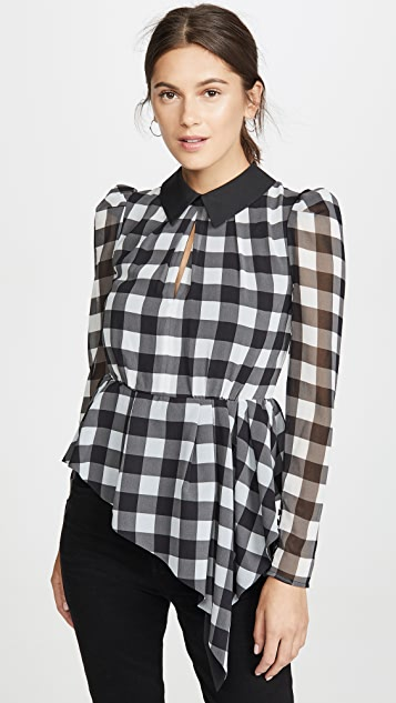 Self Portrait Monochrome Gingham Printed Top