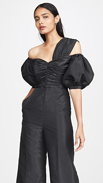 Self Portrait Black Taffeta Jumpsuit