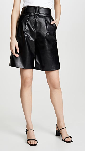 Self Portrait Faux Leather Bermuda Shorts