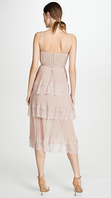 Self Portrait 雪纺蕾丝层褶中长连衣裙