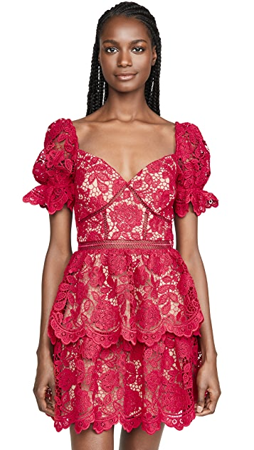 Self Portrait Flower Lace Mini Dress