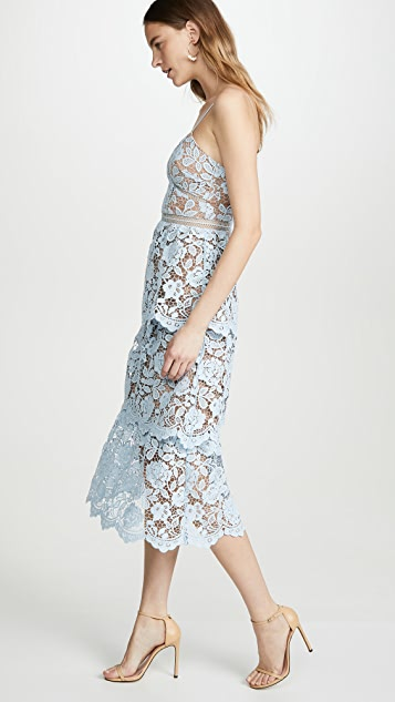 Self Portrait 花朵蕾丝中长层褶连衣裙