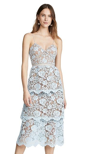 Self Portrait Flower Lace Midi Tiered Dress