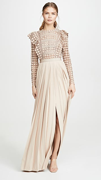 Self Portrait Heart Lace Maxi Dress