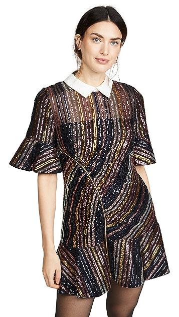 Self Portrait Мини-платье с воротником в полоску с блестками