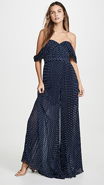 Self Portrait Off Shoulder Pleated Jumpsuit
