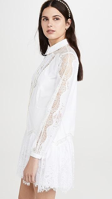 Self Portrait 蕾丝拼接衬衣式连衣裙