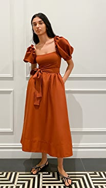 Self Portrait Rust Taffeta Midi Dress