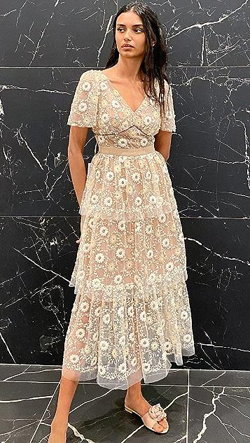 Self Portrait Flower Sequin Puff Sleeved Midi Dress