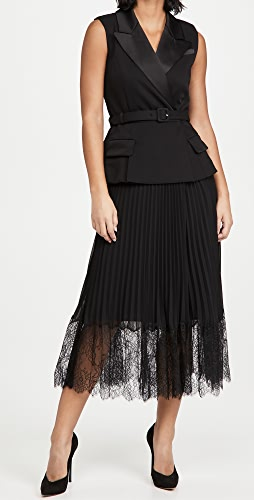Self Portrait - Tailored Crepe and Chiffon Midi Dress