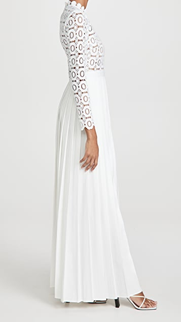 Self Portrait Pleated Crochet Floral Maxi Dress