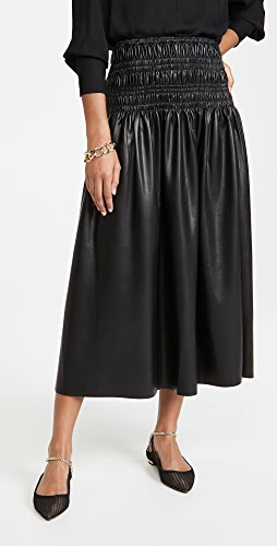 Self Portrait - Faux Leather Shirred Midi Skirt