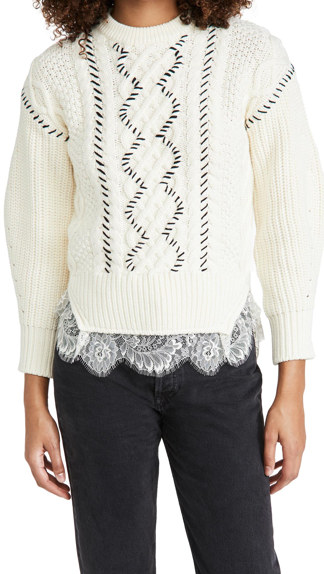 Self Portrait Cable Knit Contrast Stitch Sweater