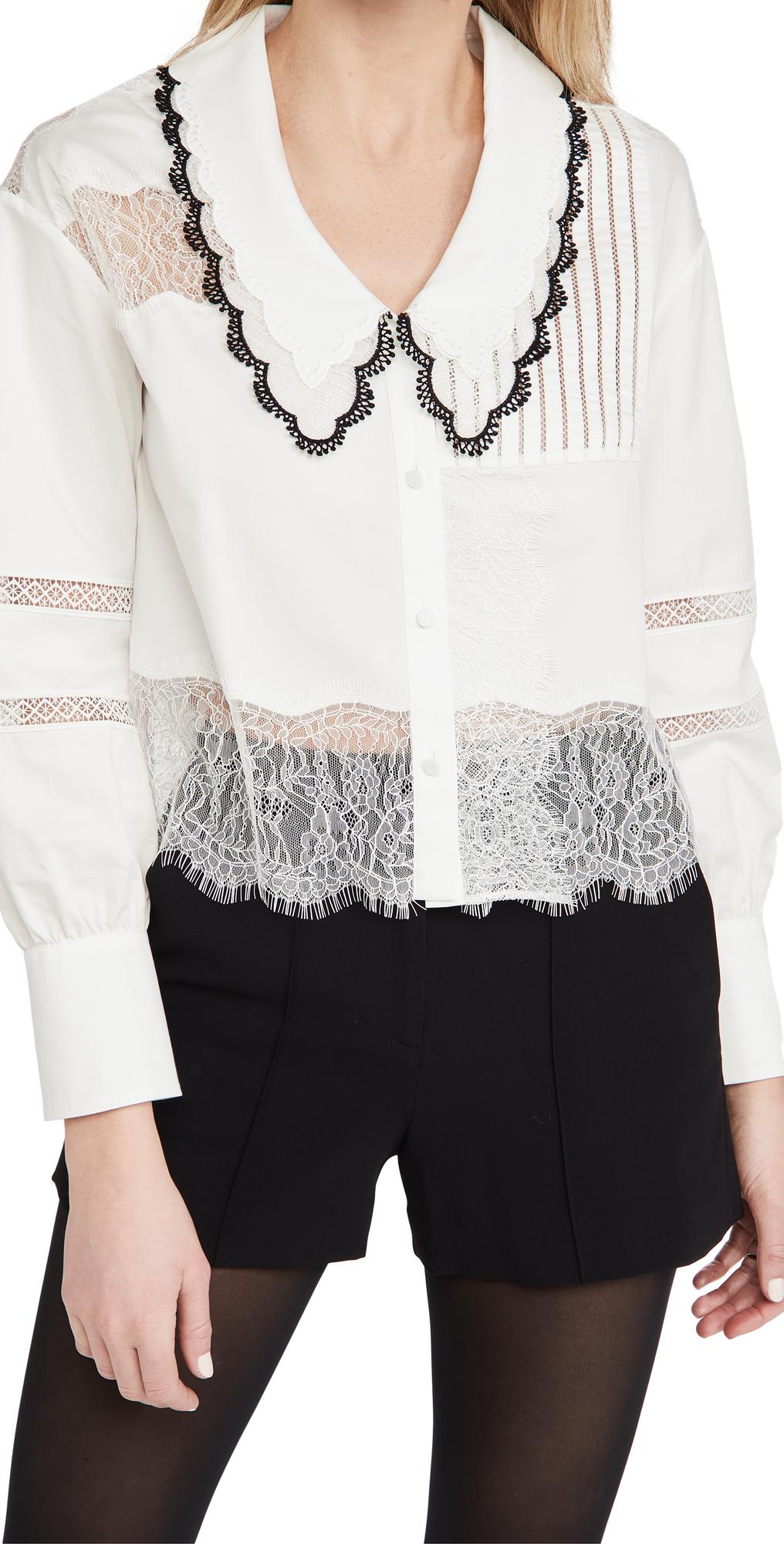 Self Portrait Cotton Trimmed Shirt