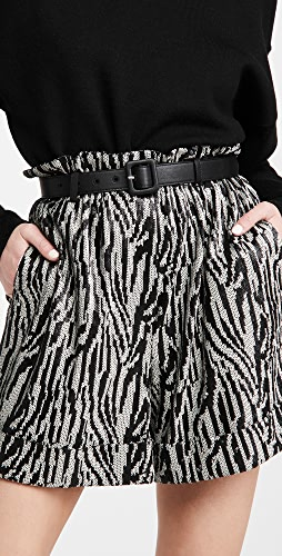 Self Portrait - Zebra Sequin High Waisted Shorts