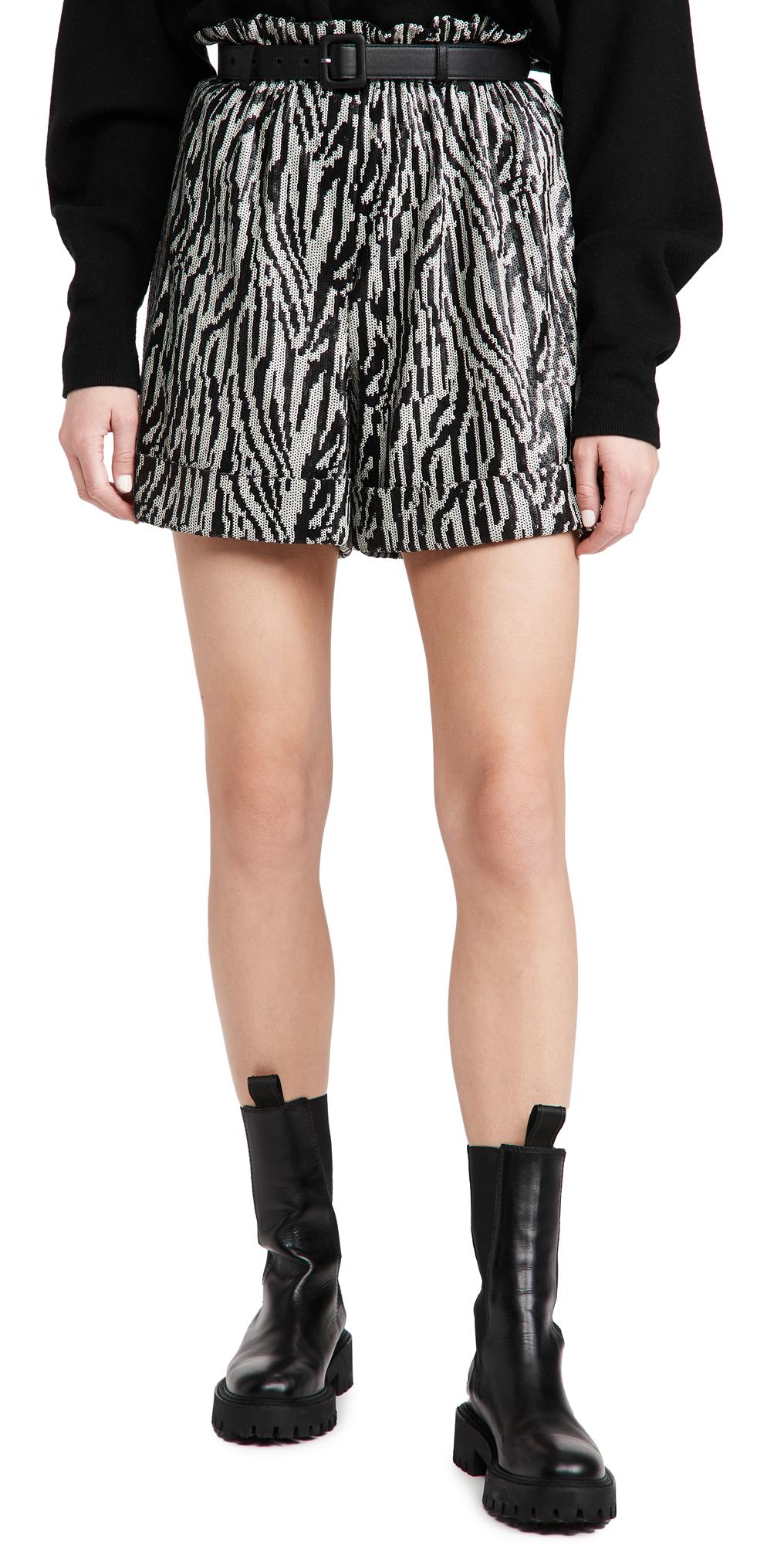 Self Portrait Zebra Sequin High Waisted Shorts