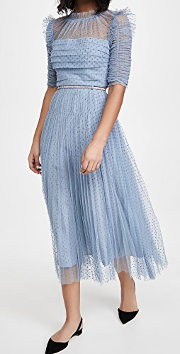 Self Portrait - Dot Mesh Trim Midi Dress