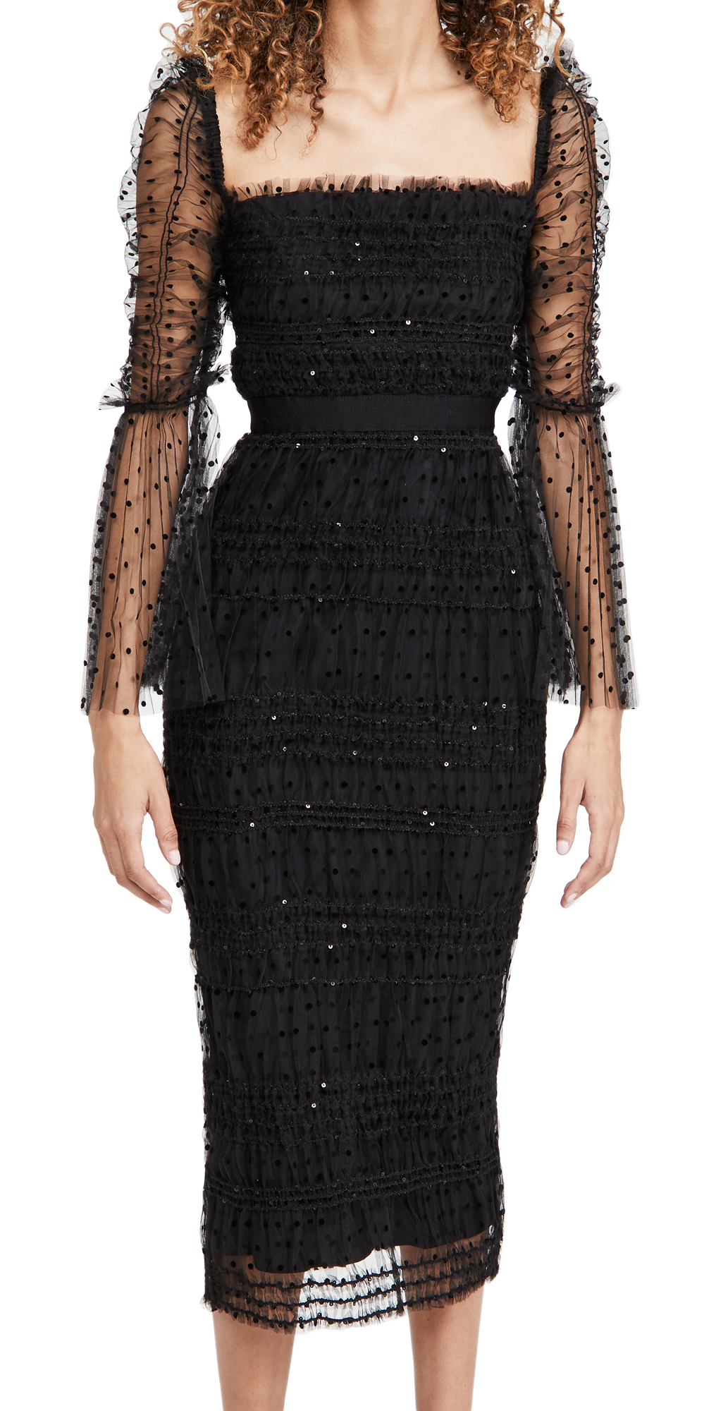 Self Portrait Black Dot Mesh Midi Dress