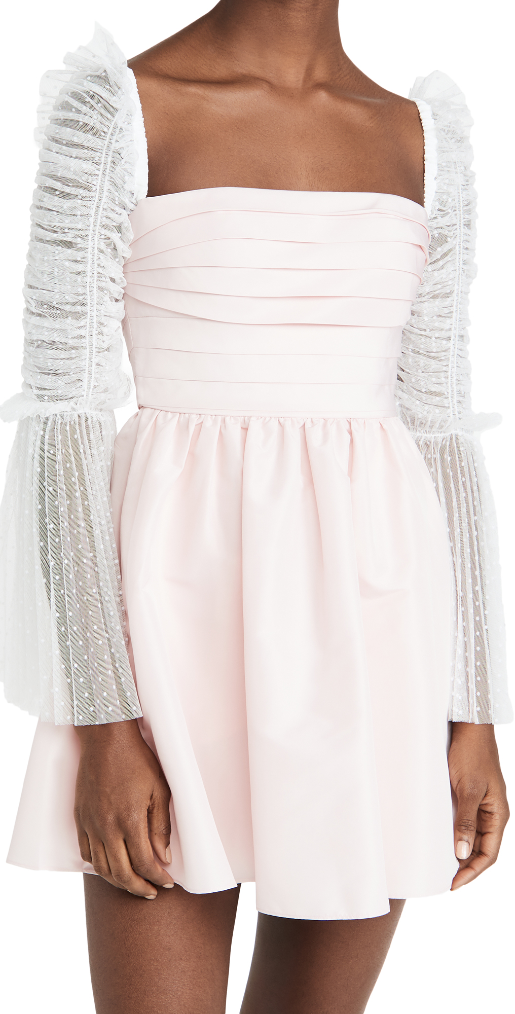 Self Portrait Pink Taffeta Dot Mesh Mini Dress