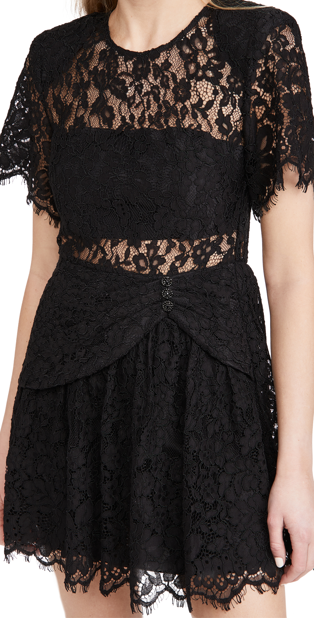Self Portrait Fine Cord Sleeve Mini Dress