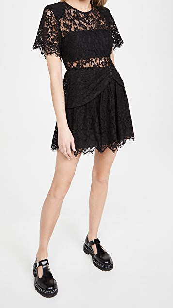Self Portrait Fine Cord Sleeve Mini Dress
