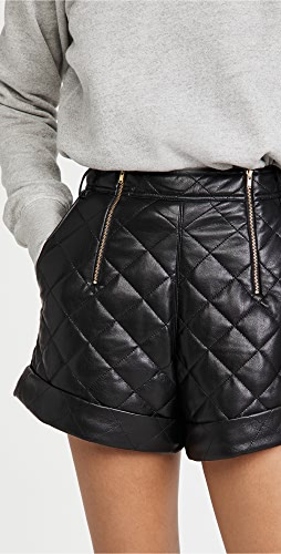 Self Portrait - Faux Leather Quilted Shorts