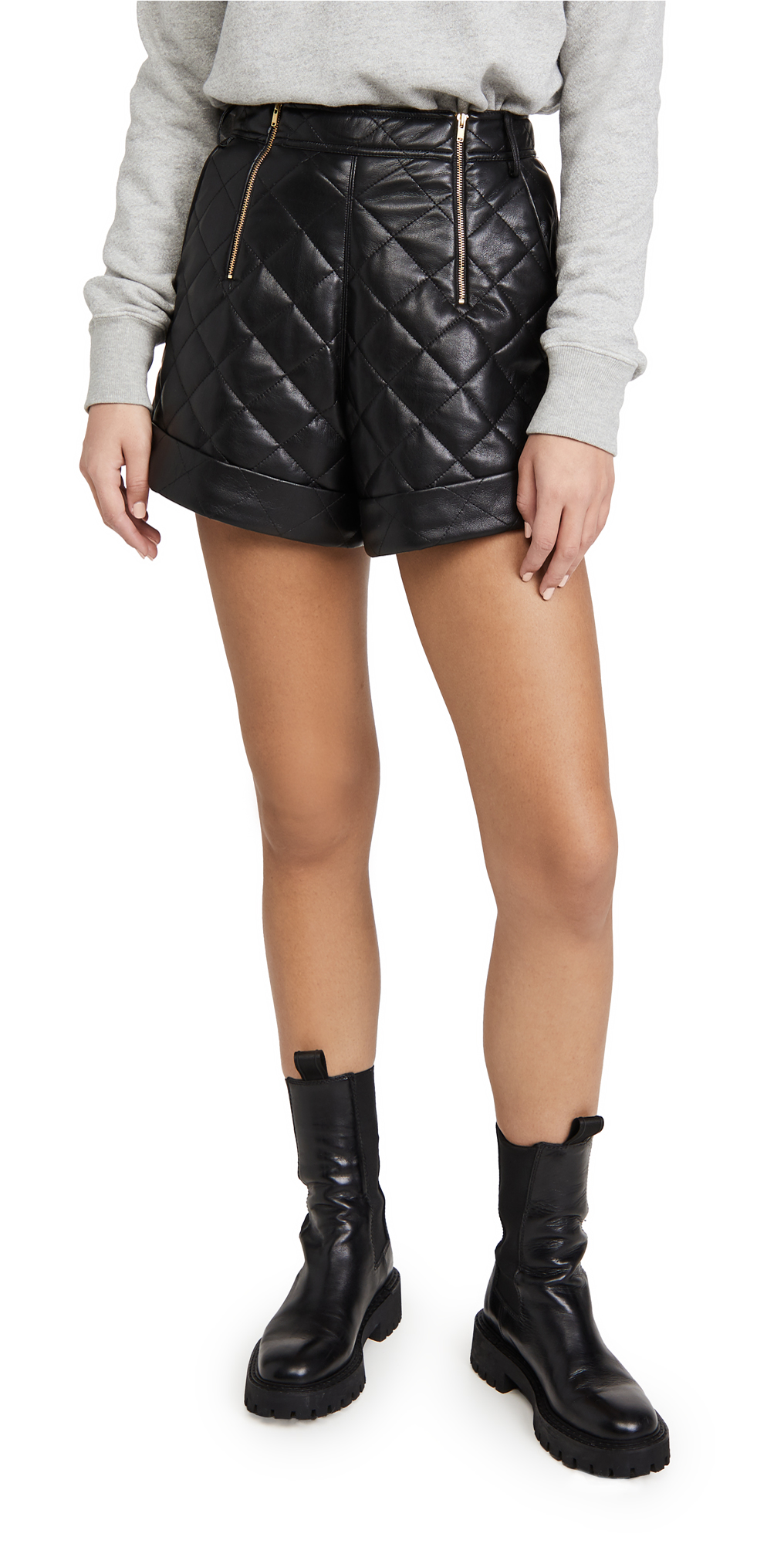 Self Portrait Faux Leather Quilted Shorts