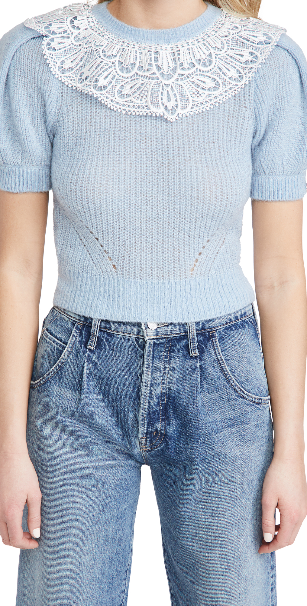 Self Portrait Lace Collar Cable Sweater