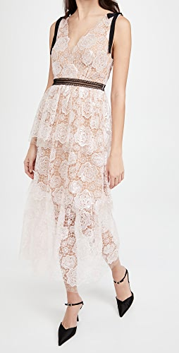 Self Portrait - Starlet Rose Lace Midi Dress