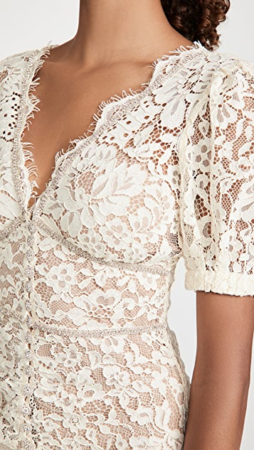 Self Portrait Fine Corded Lace Midi Dress