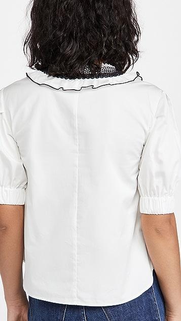 Self Portrait Lace Bib Cotton Top