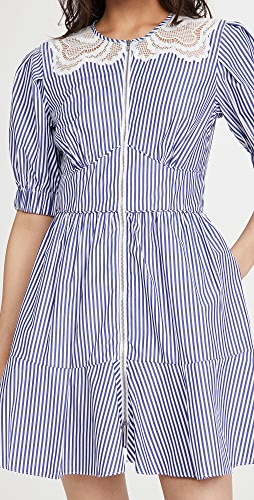 Self Portrait - Stripe Cotton Mini Dress