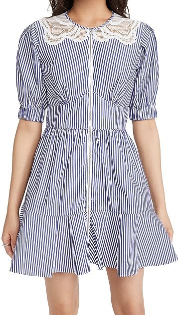 Self Portrait Stripe Cotton Mini Dress