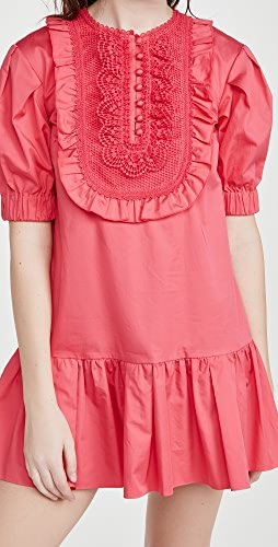 Self Portrait - Lace Bib Cotton Mini Dress