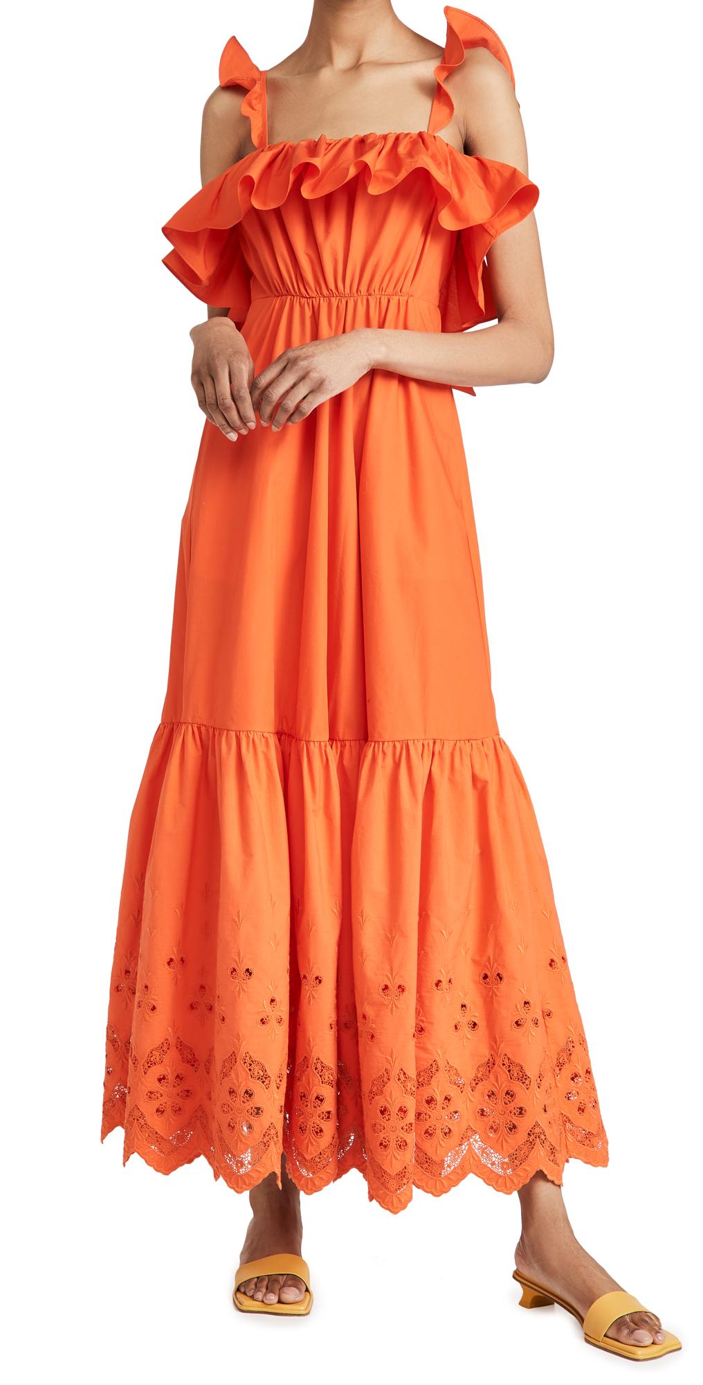 Self Portrait Cotton Broderie Maxi Dress