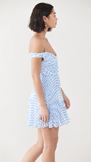Self Portrait Blue Gingham Off Shoulder Mini Dress