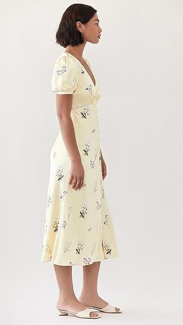 Self Portrait Yellow Vintage Floral Midi Dress