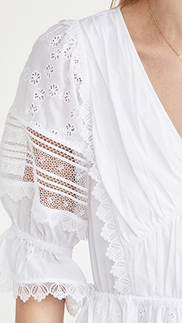 Self Portrait 白色花卉英格兰刺绣中长连衣裙