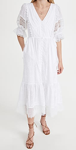 Self Portrait - White Floral Broderie Anglaise Midi Dress