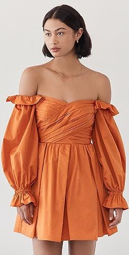 Self Portrait - Burnt Orange Off Shoulder Mini Dress