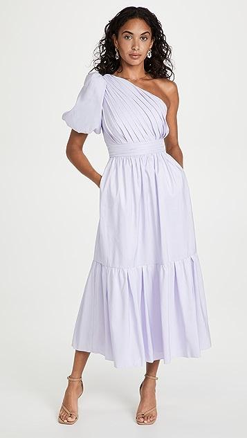 Self Portrait Lilac One Shoulder Midi Dress