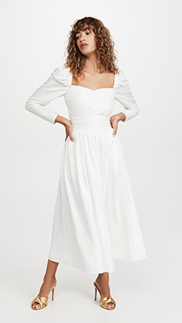 Self Portrait White Taffeta Midi Dress
