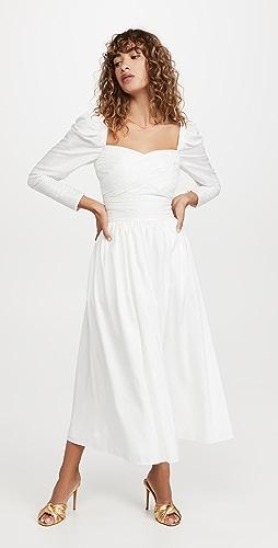 Self Portrait - White Taffeta Midi Dress