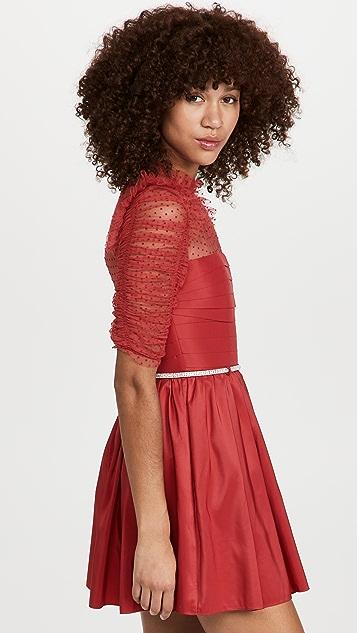 Self Portrait Red Taffeta Mini Dress