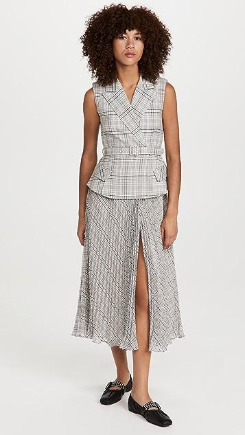 Self Portrait Tailored Check and Chiffon Midi Dress